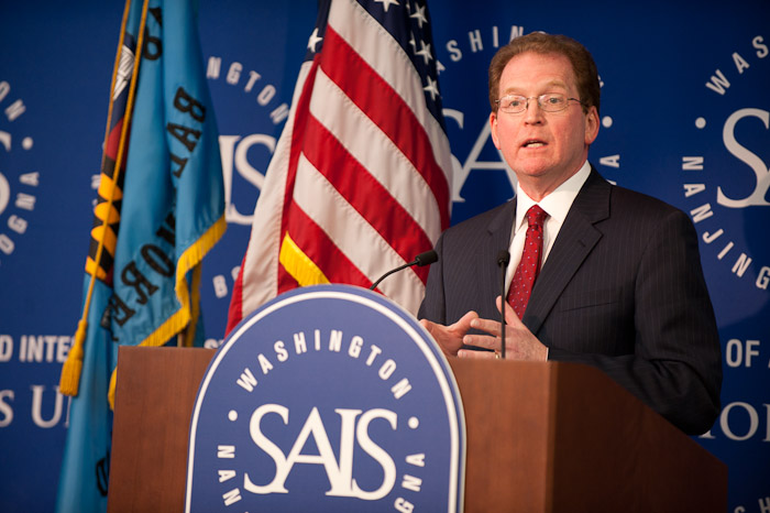 Lloyd B. Minor speaking on the future of higher education at SAIS in Washington, D.C. on March 3, 2011.