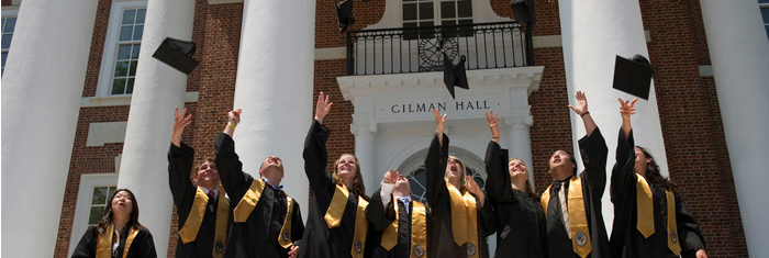 Grads throwing their caps in the air