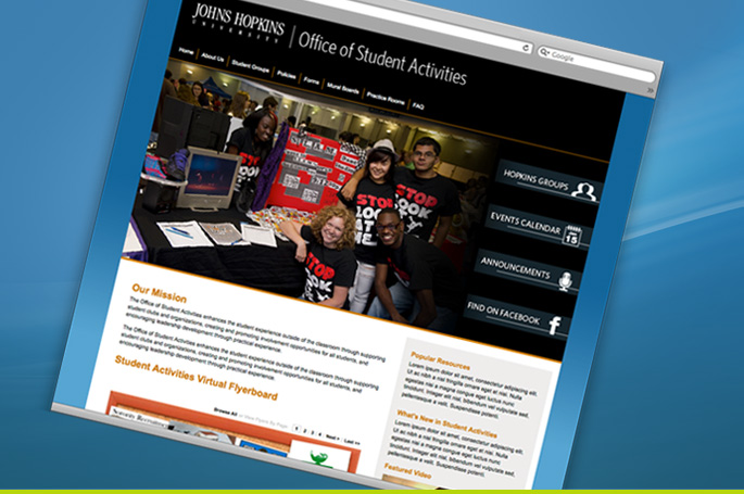 Student Activites, Homepage and Subpage Design